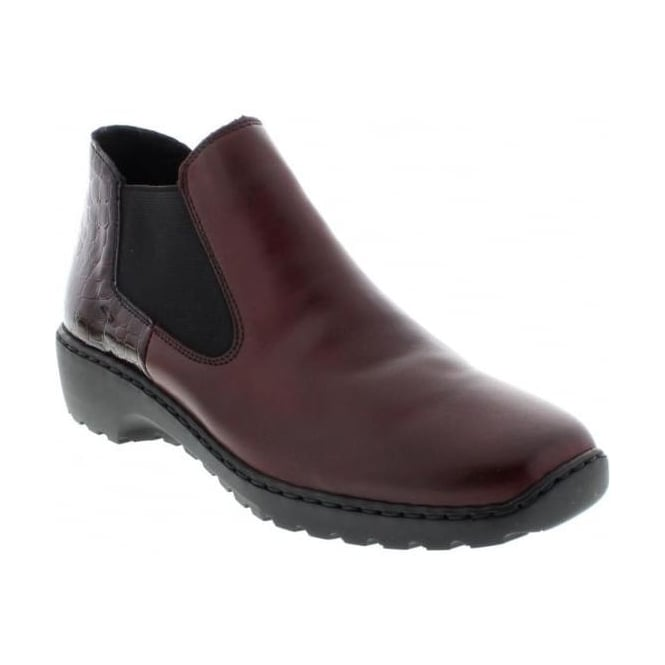 Rieker L6090-35 Ladies Red Combination Slip on ankleboots