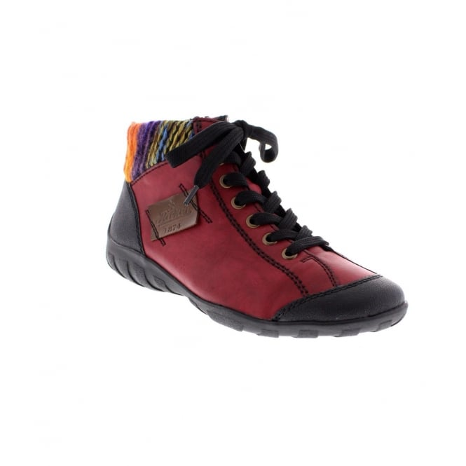 Rieker L6540-00 Ladies Red Combination Ankle Boot