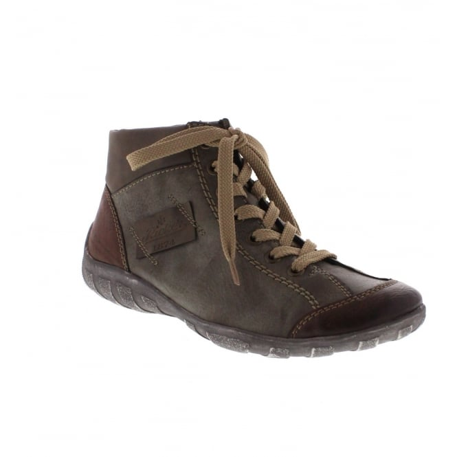 Rieker L6540-24 Womens Brown Combination Ankle Boot