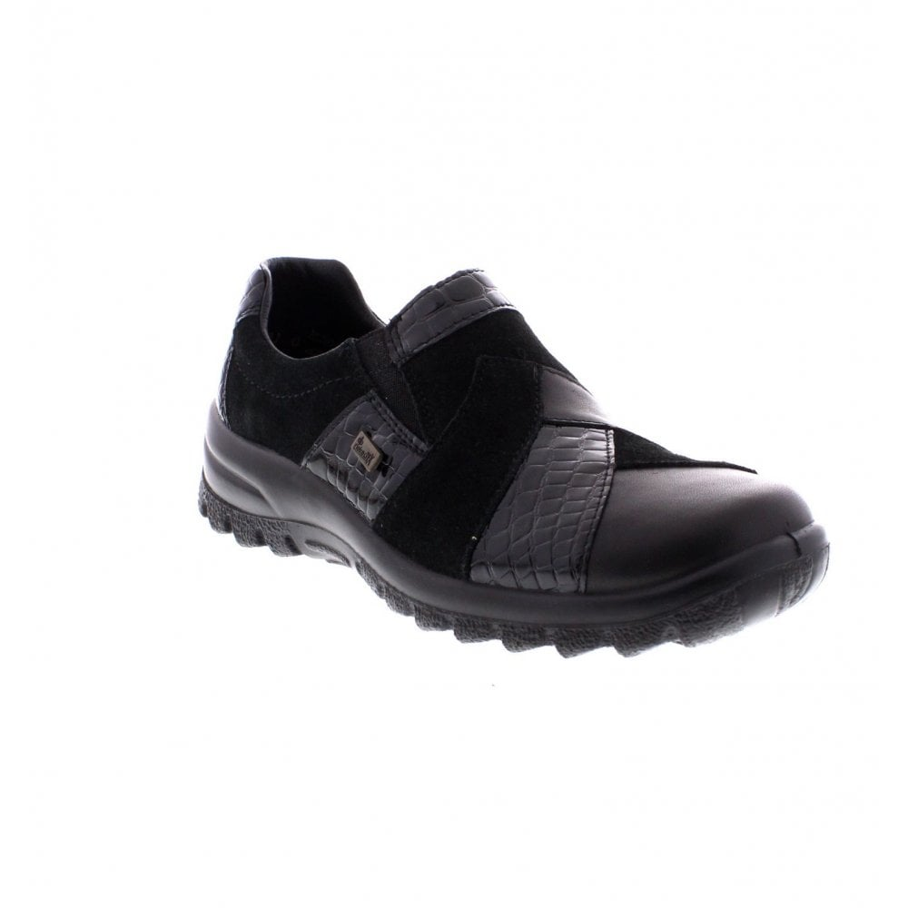 1b0242c018e Rieker L7164-00 Ladies Black combination Rieker  Tex  shoes