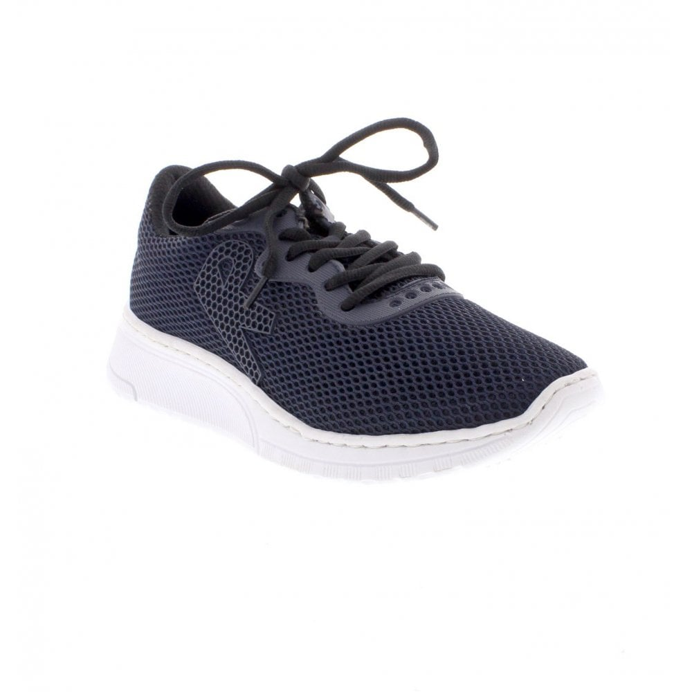 Women/'s Rieker Blue Leather Lace Up Low Wedge Trainer Shoe