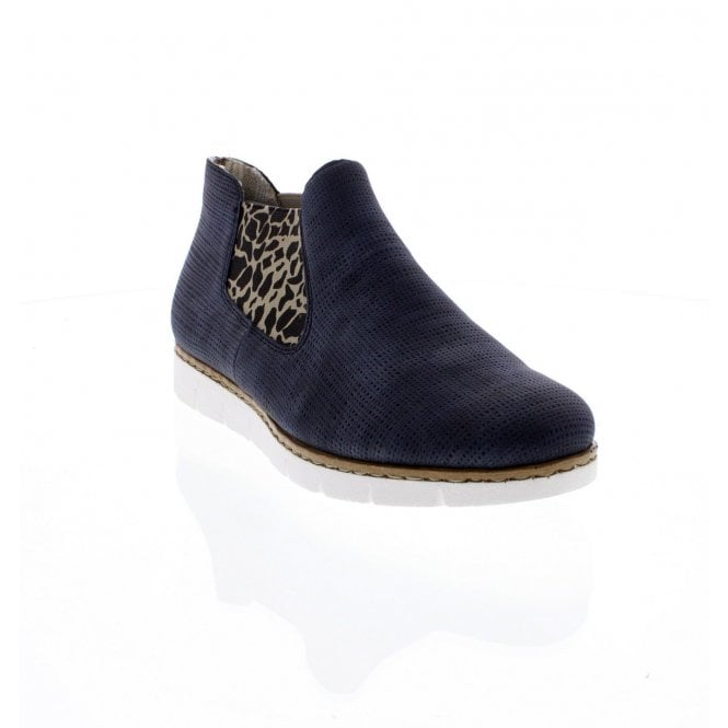 Rieker M1390-14 Ladies Slip On Blue combination ankle boots
