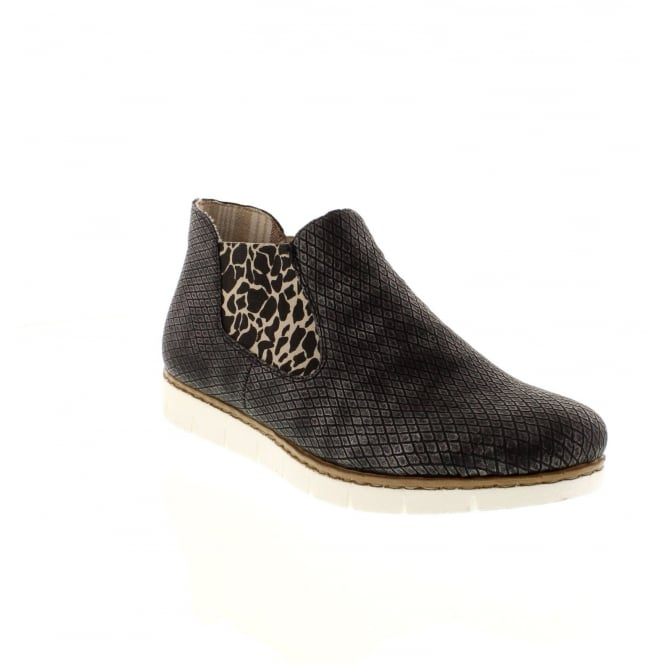 Rieker M1390-45 Ladies Grey Combination Slip on ankleboots