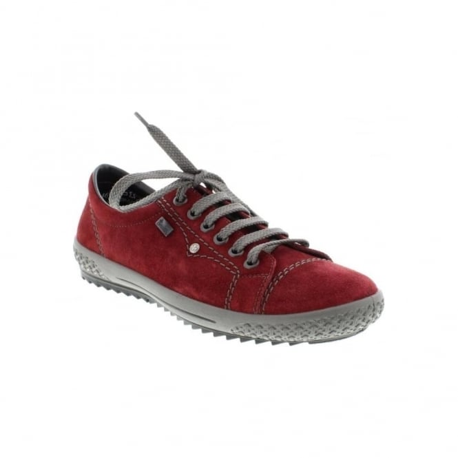 Rieker M6104-36 Ladies Red Combination Lace Up shoes