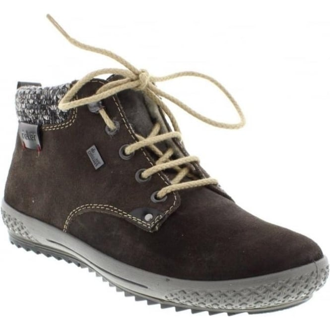 Rieker M6140-45 Ladies Grey Combination Lace Up ankleboots