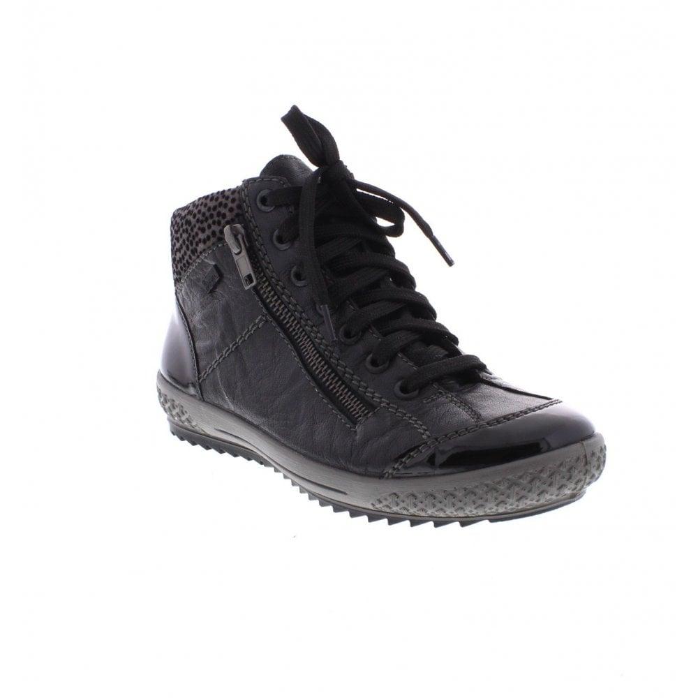 Rieker M6143 01 Black Combination Ladies Ankle Boots