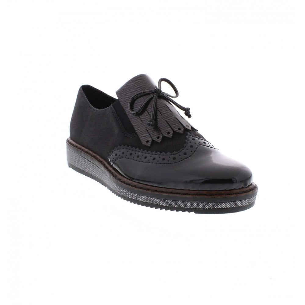 Rieker N0372 00 Ladies Black Slip On Shoes Rieker Ladies