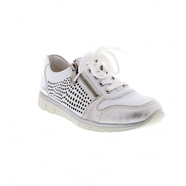 Rieker N4025-80 Ladies white and silver combination trainers