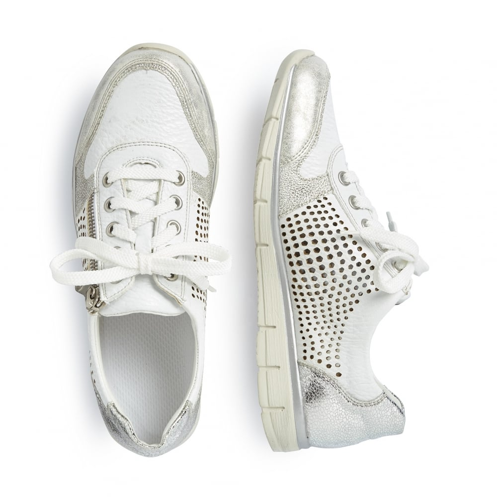 Rieker N4025-80 Ladies white and silver