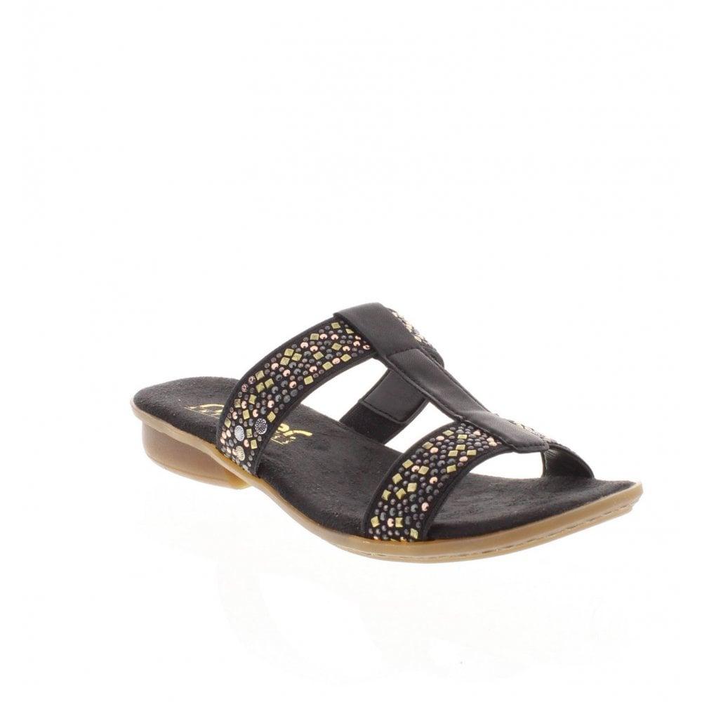 e8a26d0af453 Rieker V0454-00 Ladies Black Slip On Sandals - Rieker Ladies from ...