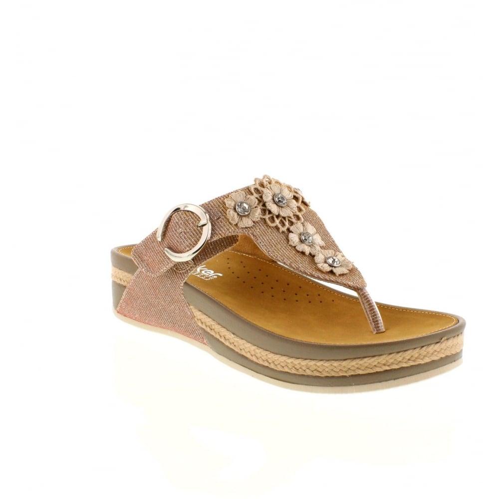 Rieker V1451-31 Ladies Pink Combination Velcro sandals ...