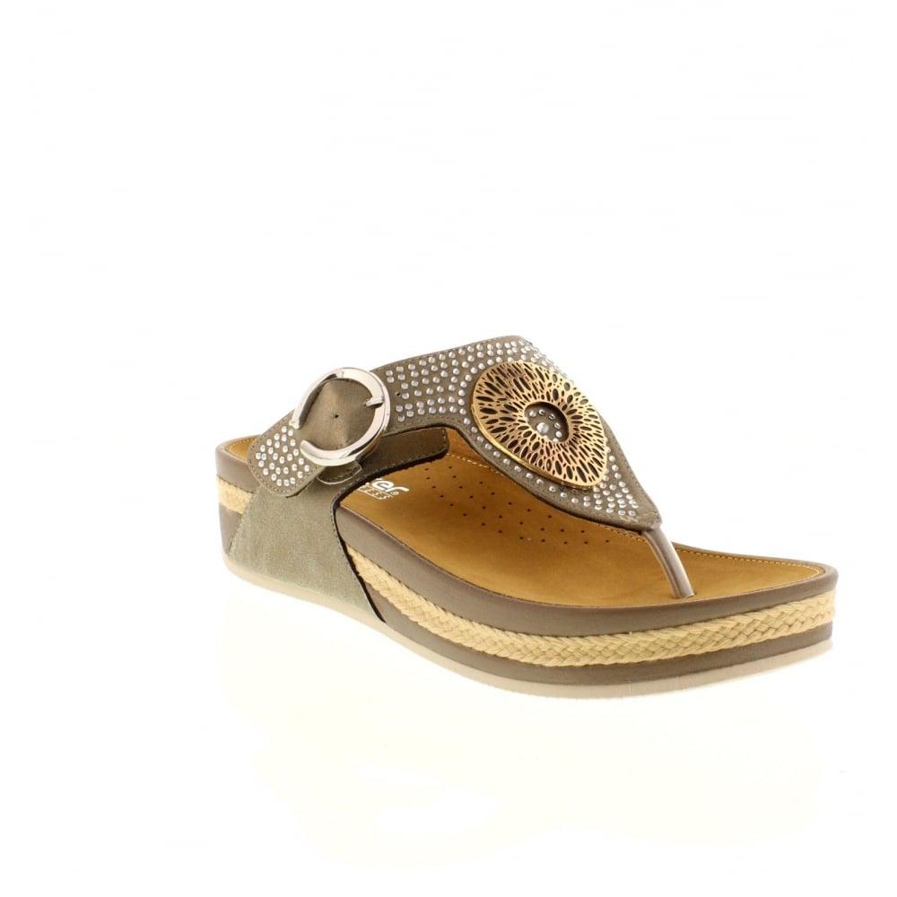 b17b11f72 Rieker V1460-62 Buckle beige Ladies  sandals - Rieker Ladies from Rieker UK