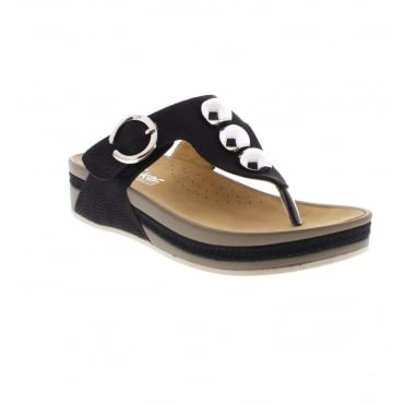 V1490-00 Ladies' Black slip on sandals
