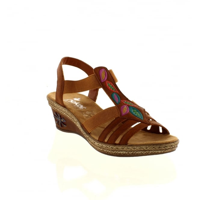 Rieker V2421-24 Ladies Brown Slip on sandals