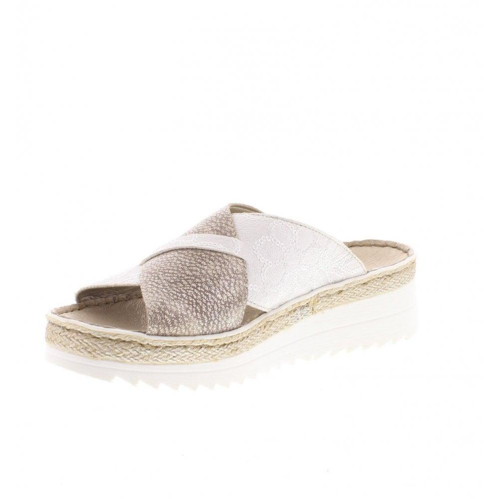 62c6ec67d Rieker V3281-80 Ladies White Combination Slip On Sandals - Rieker ...