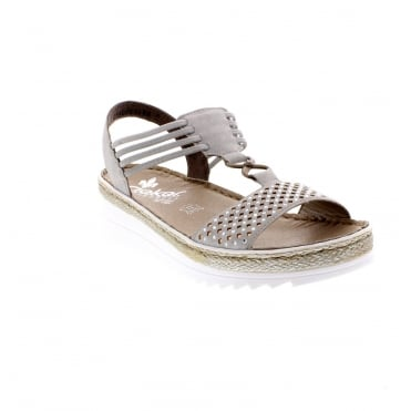 V3285-40 Ladies grey wedge sandals