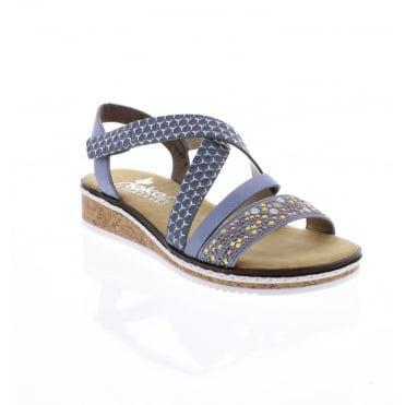 09b333f01feb Rieker V3663-10 Ladies Blue Sandals