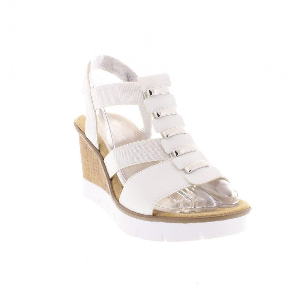 80e5ac08f Rieker V5545-80 Ladies White Wedge Sandals - Rieker Ladies from ...