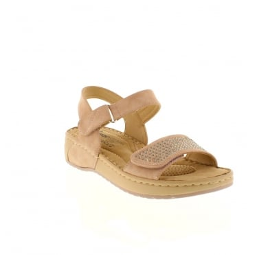 Rieker V5772-31 Ladies Pink Combination Velcro sandals