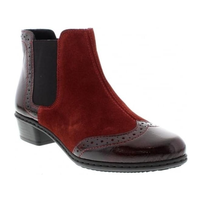 Rieker Y0743-35 Ladies Red Combination Zipper boots