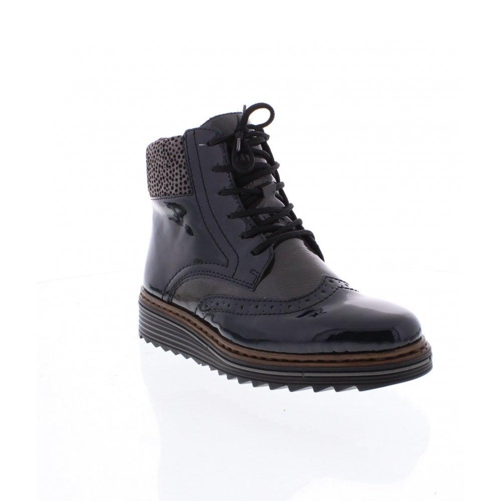 73ff0c4da5dae Rieker Y6323-15 Ladies Blue Combination Ankle Boots - Rieker Ladies ...