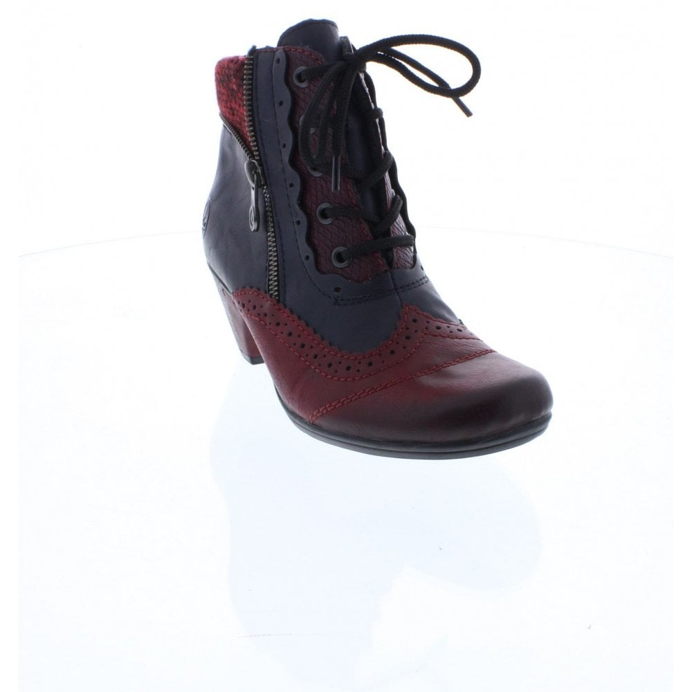 Y7211 35 Ladies' Red & blue combination boots