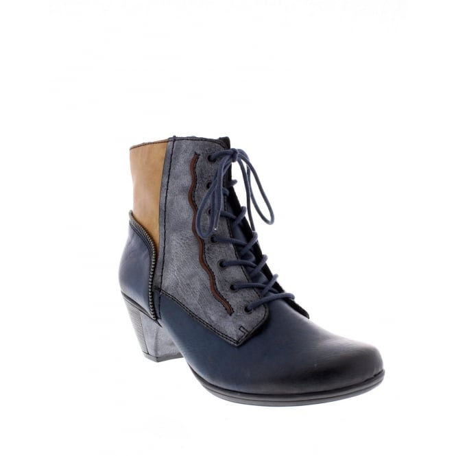 Rieker Y7214-15 Ladies Blue Combination Ankle Boot