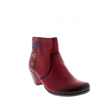 Rieker Y7273-36 Ladies Red Combination Ankle Boot