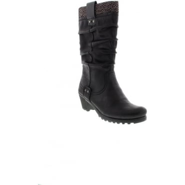 Rieker Y8080-01 Ladies Black Zipper boots