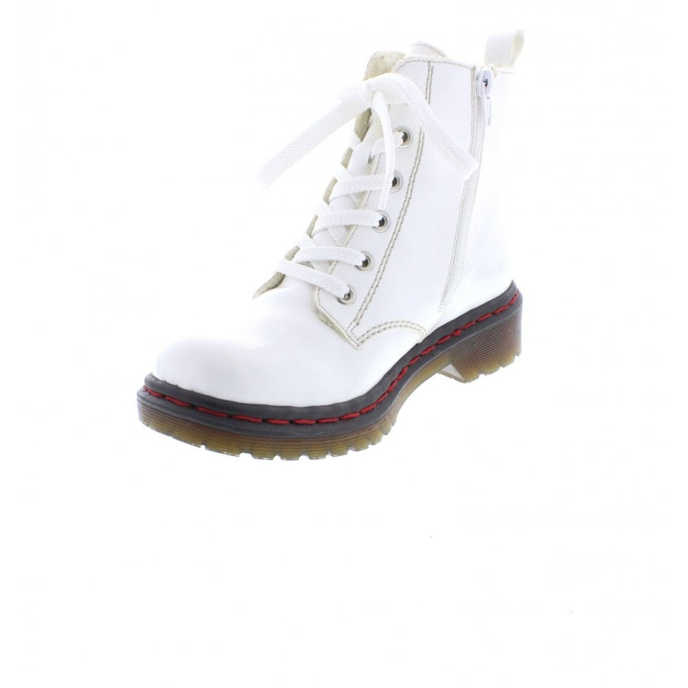 Y8210 80 Ladies White Zip Up Ankle Boots