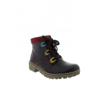 Rieker Y8310-01 Ladies Black Lace Up boots