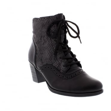 Rieker Y8930-00 Womens black combination ankle boot