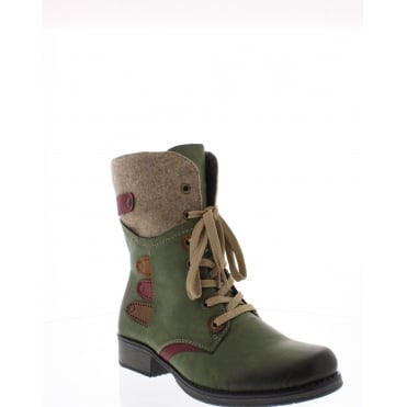Rieker Y9743-52 Womens green combination ankie boots
