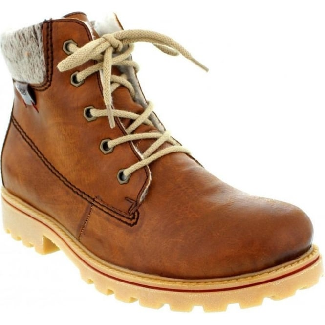 Rieker Z1420-24 Ladies Brown Combination Lace Up boots