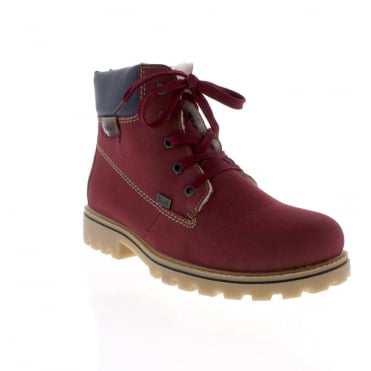 Rieker Z1420-39 Womens red combination Tex ankle boot