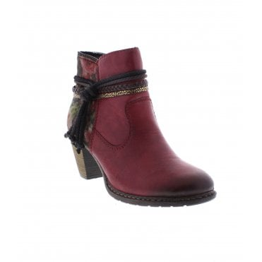 Rieker Z1580-35 Ladies Red Ankle Boots