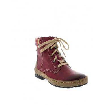 Rieker Z6703-35 Ladies Red Combination Lace Up,Zipper boots