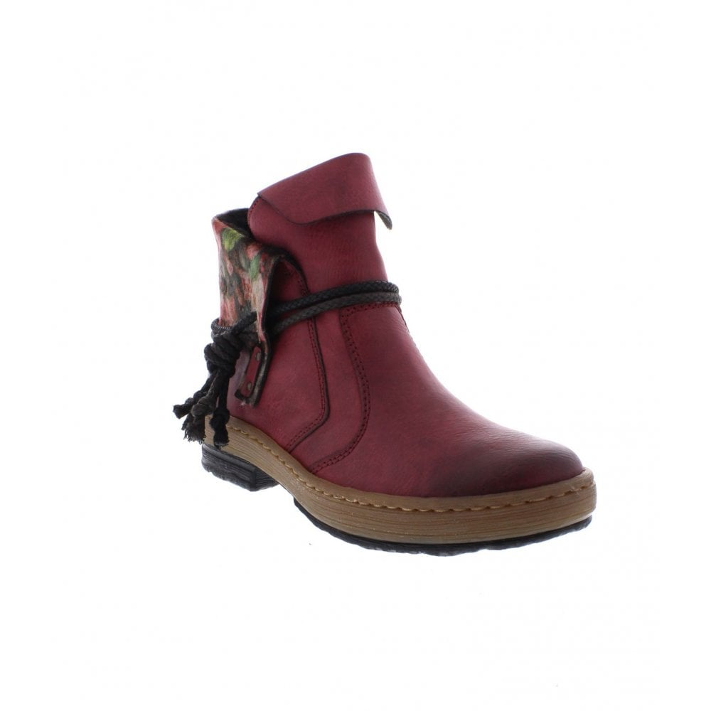 ba2877fae196 Rieker Z6771-35 Ladies Red Combination Ankle Boots - Rieker Ladies from  Rieker UK