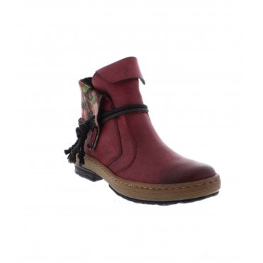 c8815ef81ccc Rieker Z6771-35 Ladies Red Combination Ankle Boots