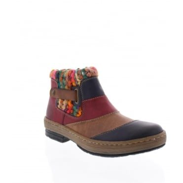 Rieker Z6782-14 Womens multi coloured ankle boot