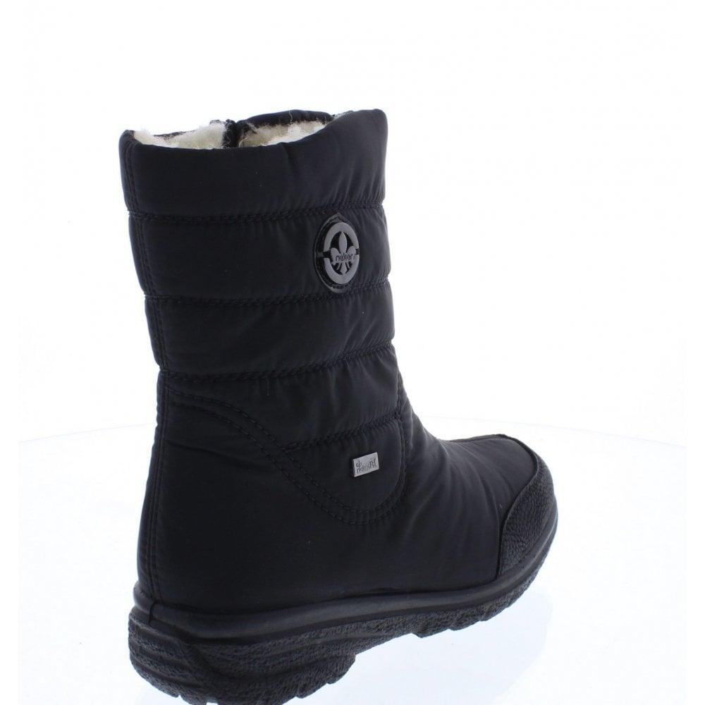 Rieker Z7082-00 femme chaud textile Wide Fit Zip Casual Bottines Noir