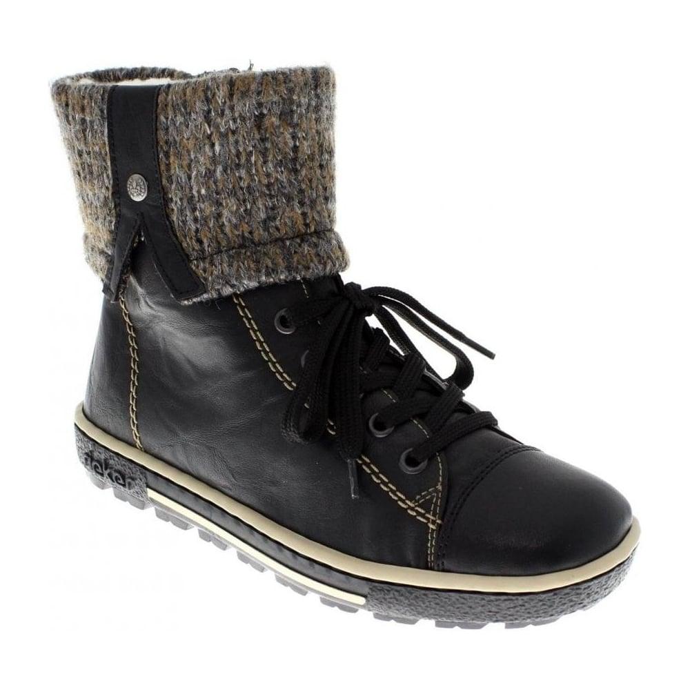 Rieker Z8753 00 Ladies Black Combination Zip Boots