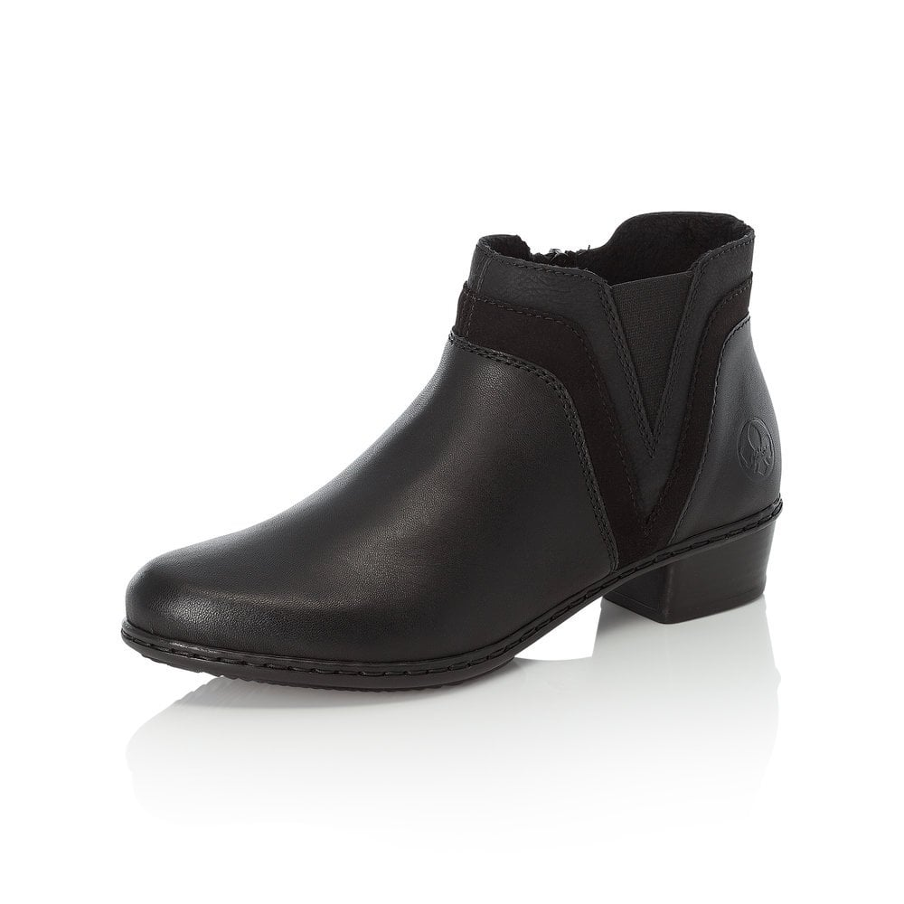 Rieker Y07B2-02 Ladies Womens Autumn Casual Office Side Zip Ankle Boots Black